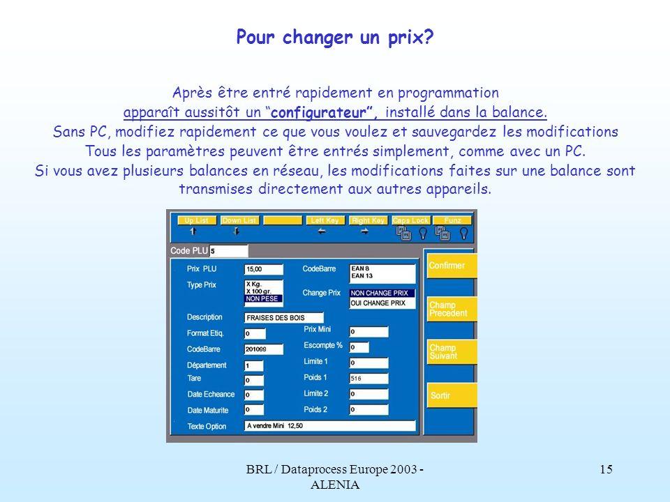 Pour changer un prix Après être entré rapidement en programmation