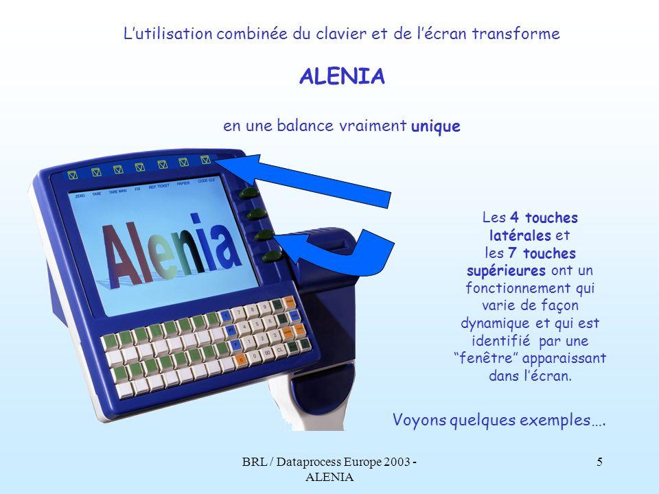 ALENIA L'utilisation combinée du clavier et de l'écran transforme