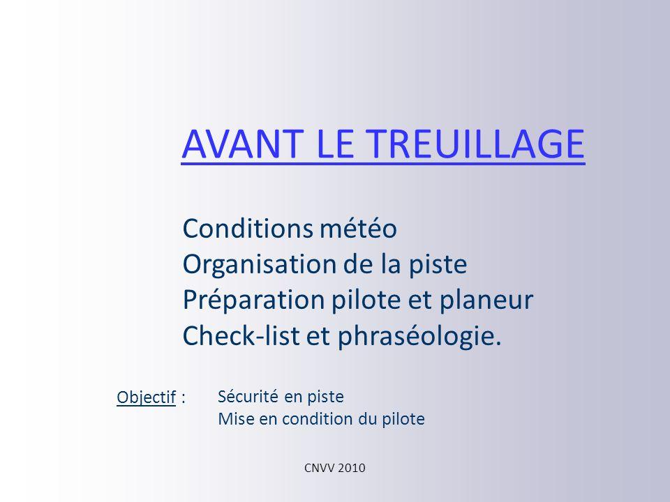 AVANT LE TREUILLAGE Conditions météo Organisation de la piste
