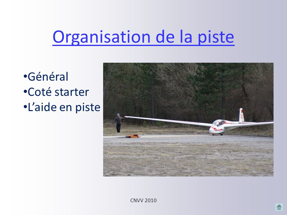 Organisation de la piste