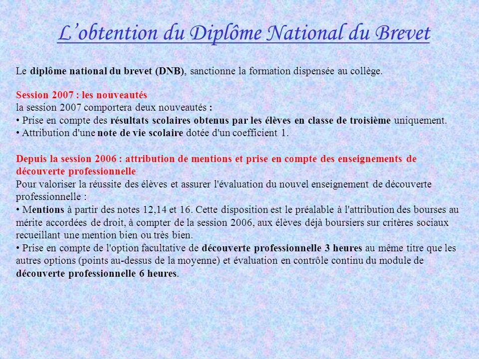 L'obtention du Diplôme National du Brevet