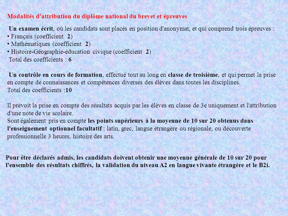 Modalités d attribution du diplôme national du brevet et épreuves