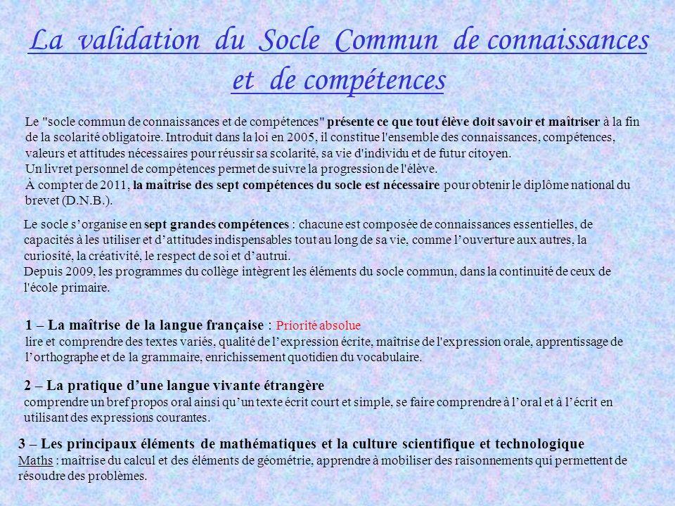 La validation du Socle Commun de connaissances