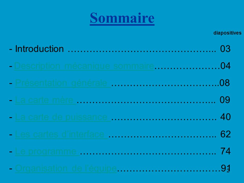 Sommaire diapositives Introduction ………………………………………... 03