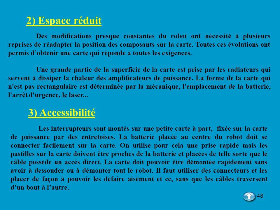 2) Espace réduit 3) Accessibilité