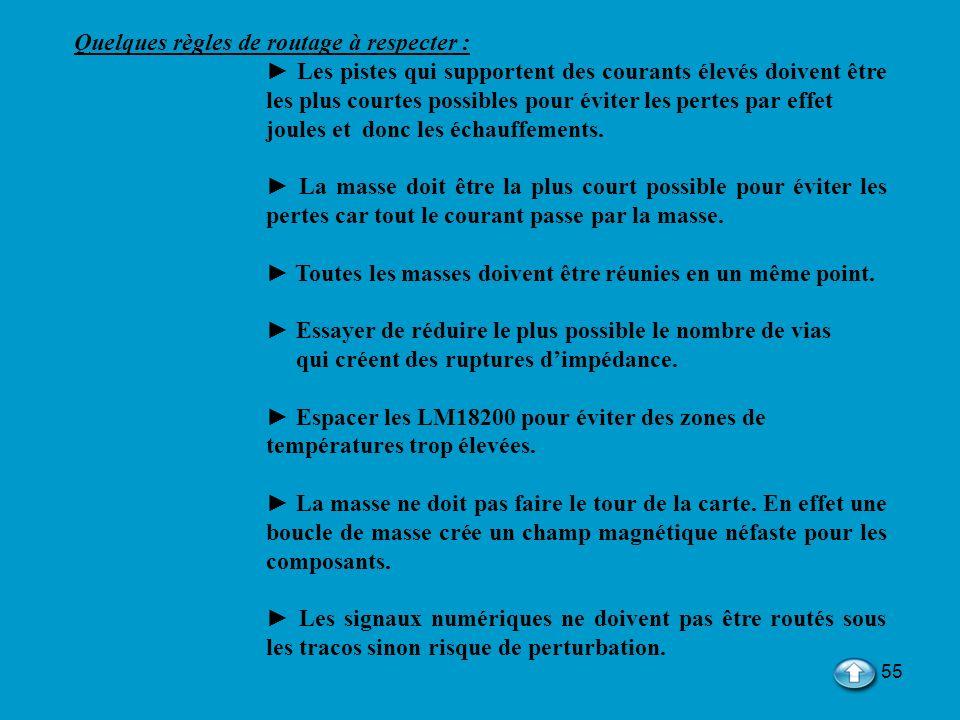 Quelques règles de routage à respecter :