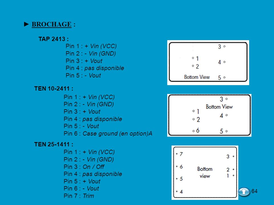► BROCHAGE : TAP 2413 : Pin 1 : + Vin (VCC) Pin 2 : - Vin (GND)