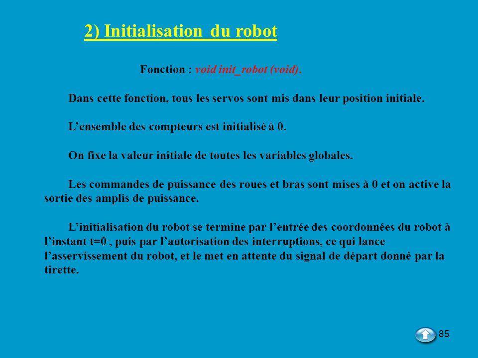 2) Initialisation du robot