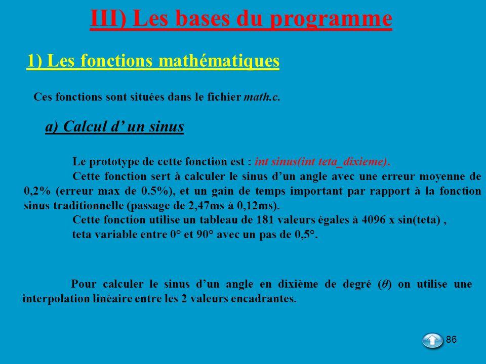 III) Les bases du programme 1) Les fonctions mathématiques