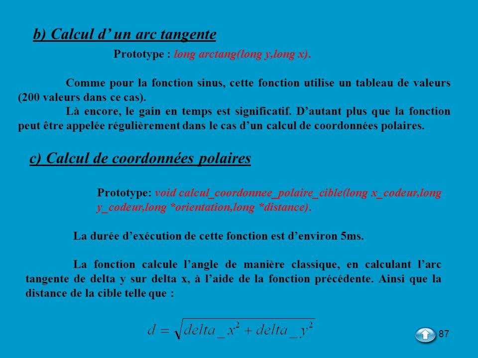 b) Calcul d' un arc tangente