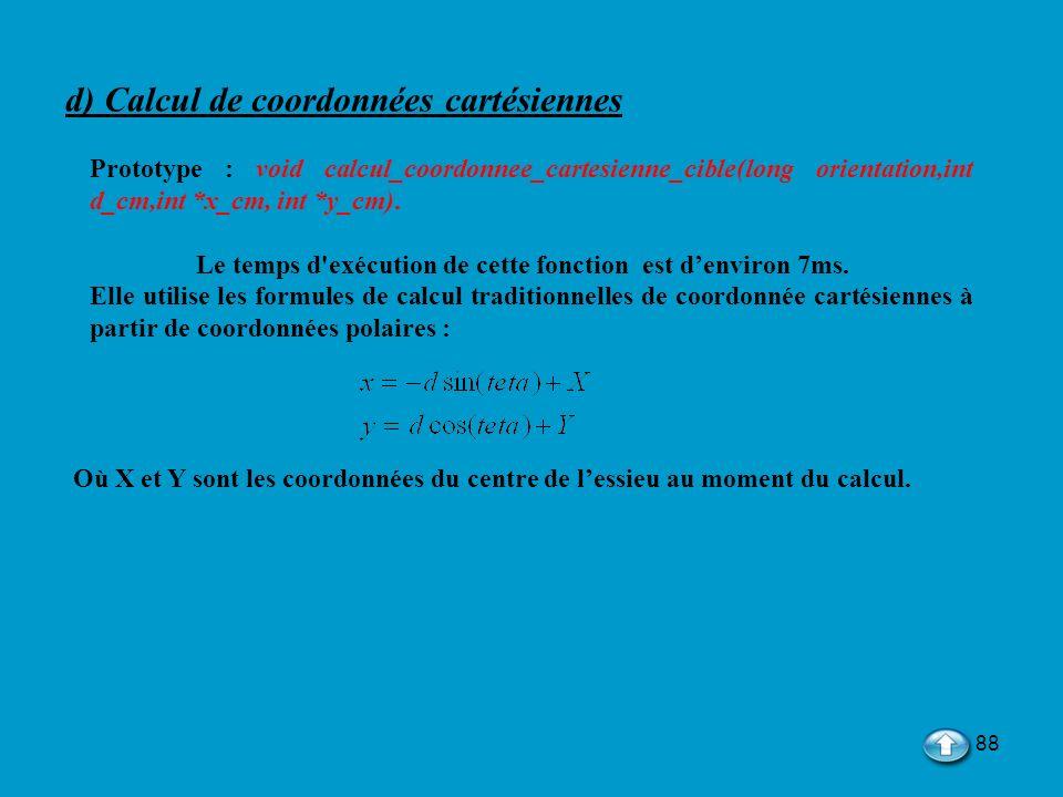 d) Calcul de coordonnées cartésiennes