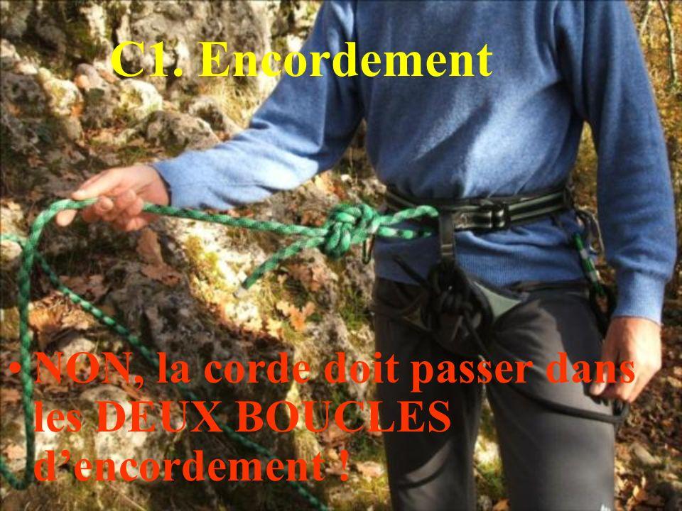 C1. Encordement NON, la corde doit passer dans les DEUX BOUCLES d'encordement !