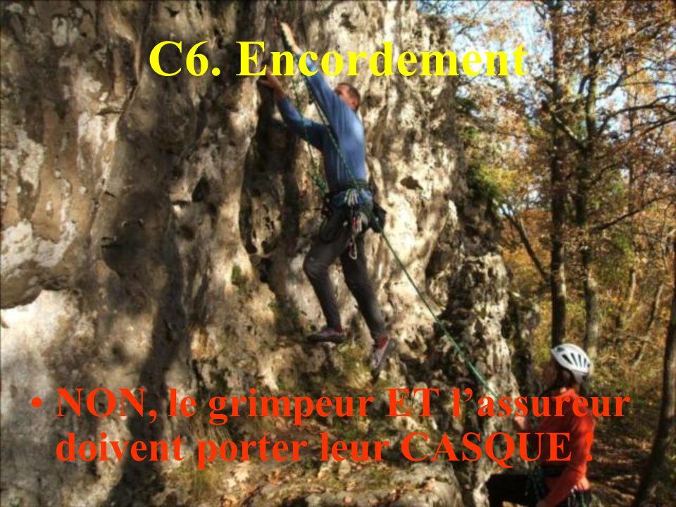 C6. Encordement NON, le grimpeur ET l'assureur doivent porter leur CASQUE !