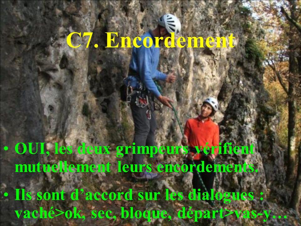 C7. Encordement OUI, les deux grimpeurs vérifient mutuellement leurs encordements.