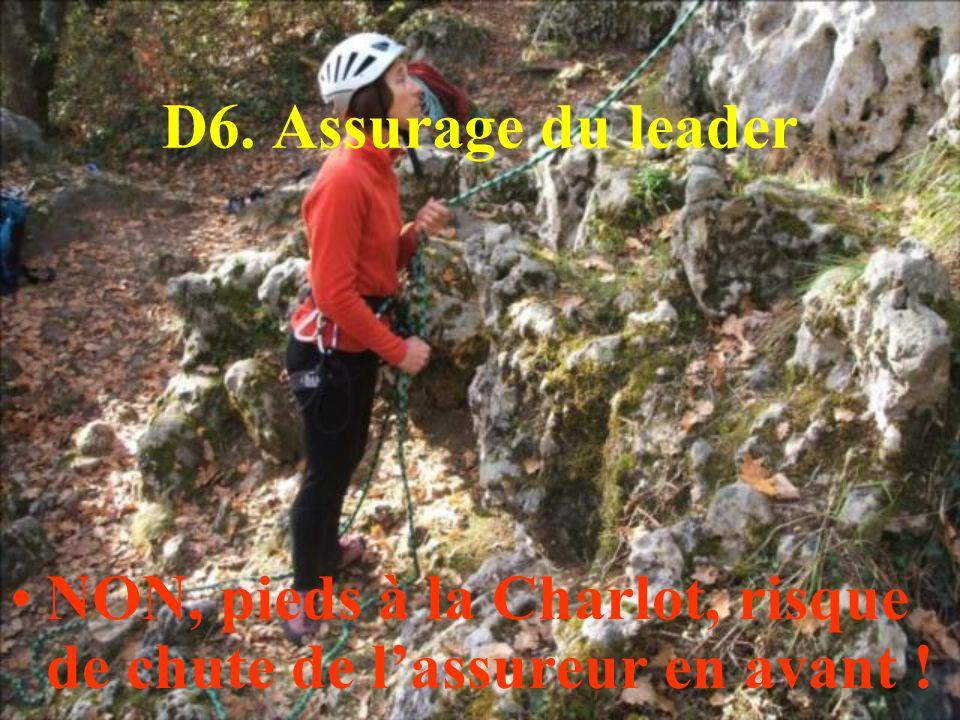 D6. Assurage du leader NON, pieds à la Charlot, risque de chute de l'assureur en avant !