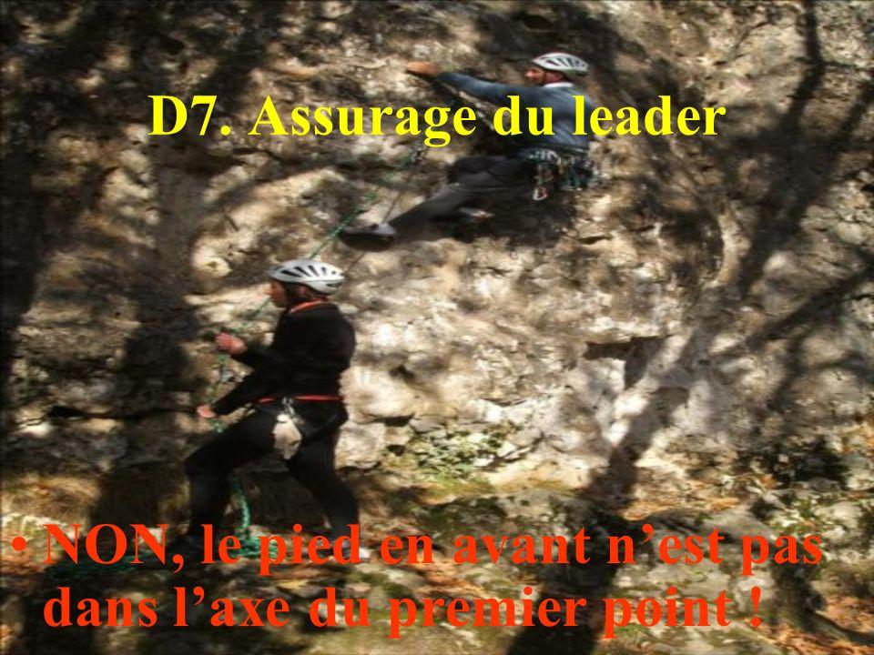 D7. Assurage du leader NON, le pied en avant n'est pas dans l'axe du premier point !