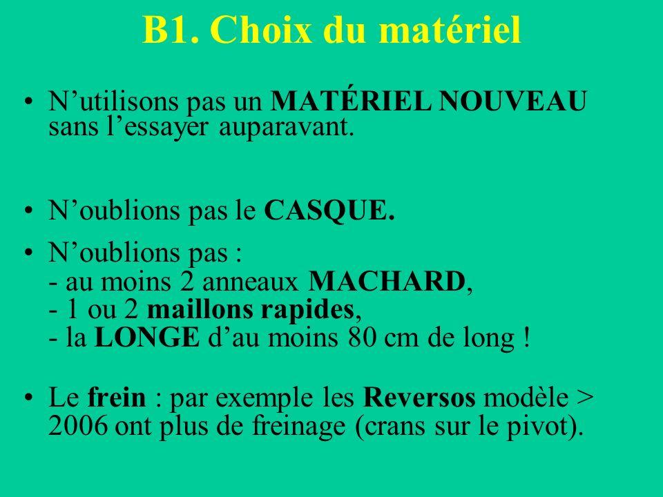 B1. Choix du matériel N'utilisons pas un MATÉRIEL NOUVEAU sans l'essayer auparavant. N'oublions pas le CASQUE.