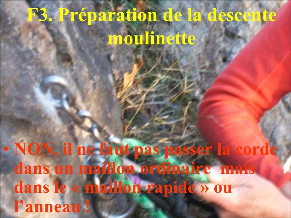 F3. Préparation de la descente moulinette