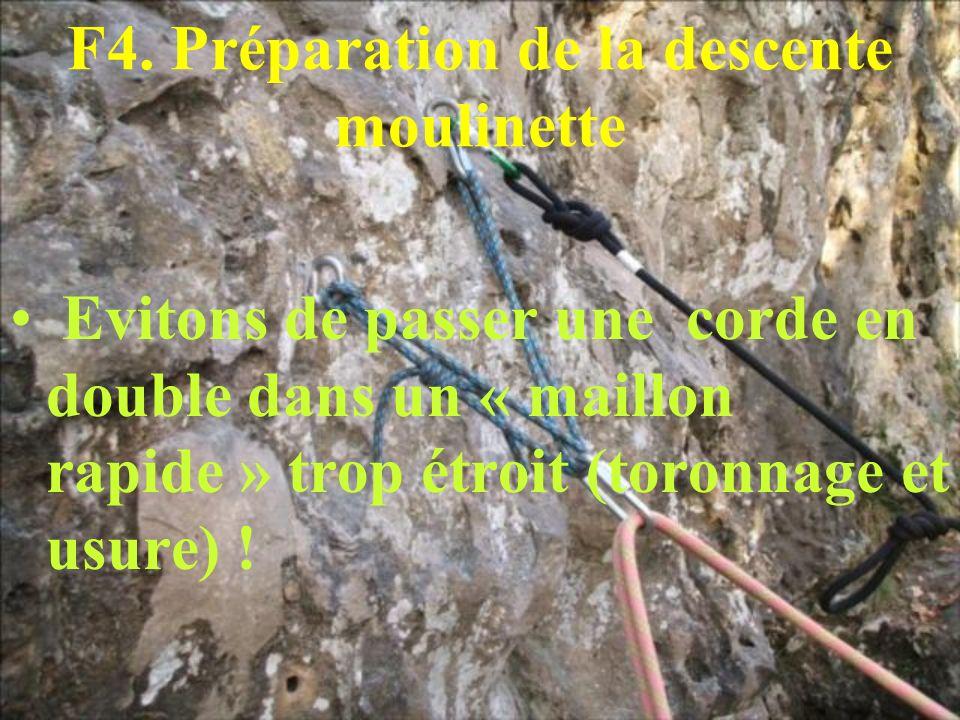 F4. Préparation de la descente moulinette