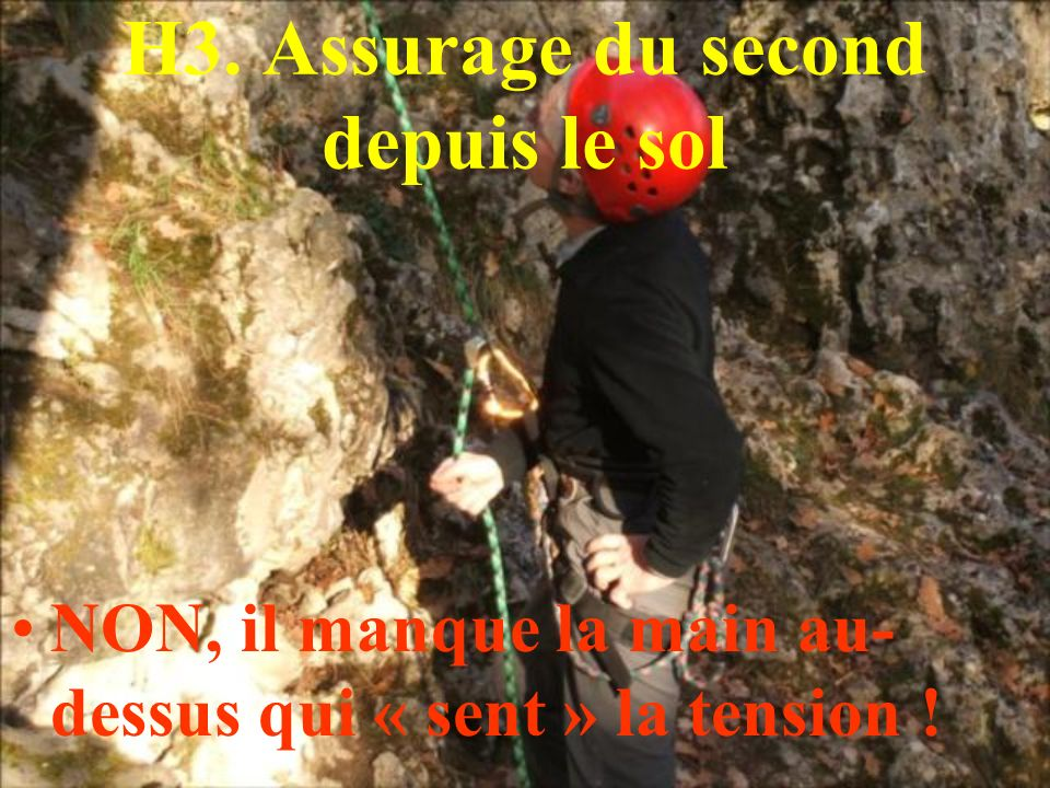 H3. Assurage du second depuis le sol