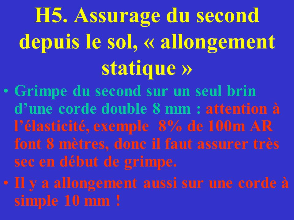 H5. Assurage du second depuis le sol, « allongement statique »