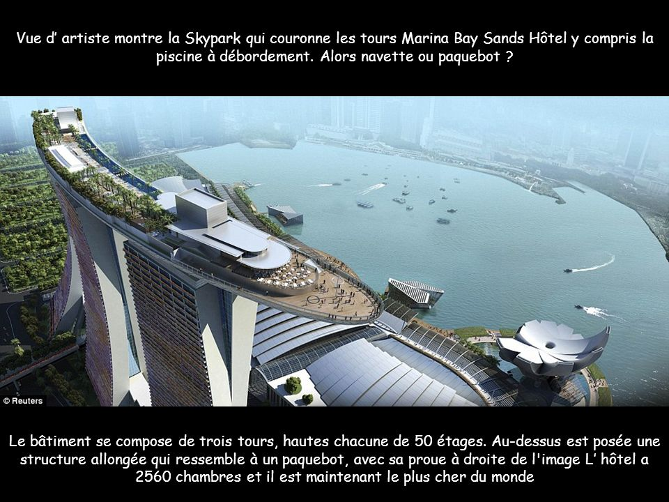 Vue d' artiste montre la Skypark qui couronne les tours Marina Bay Sands Hôtel y compris la piscine à débordement. Alors navette ou paquebot