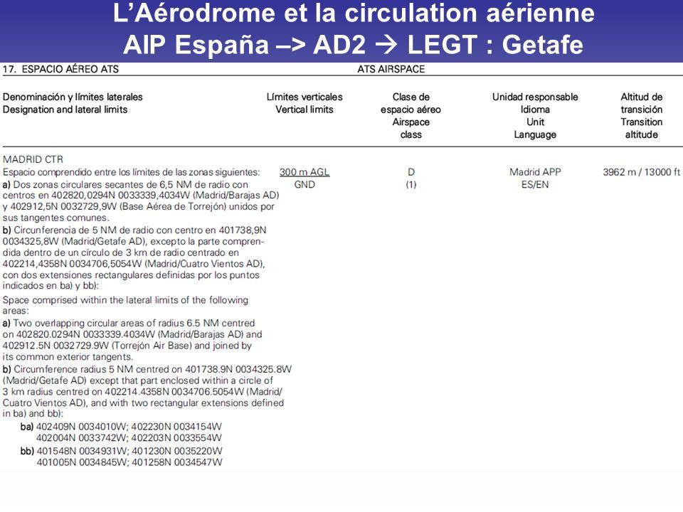 L'Aérodrome et la circulation aérienne AIP España –> AD2  LEGT : Getafe