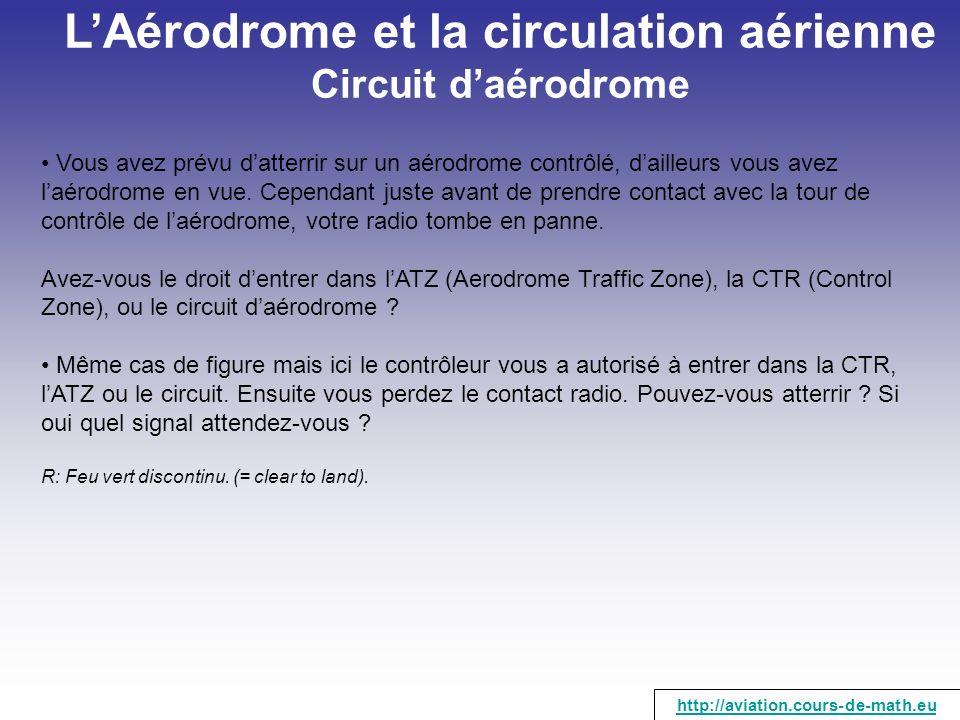 L'Aérodrome et la circulation aérienne Circuit d'aérodrome