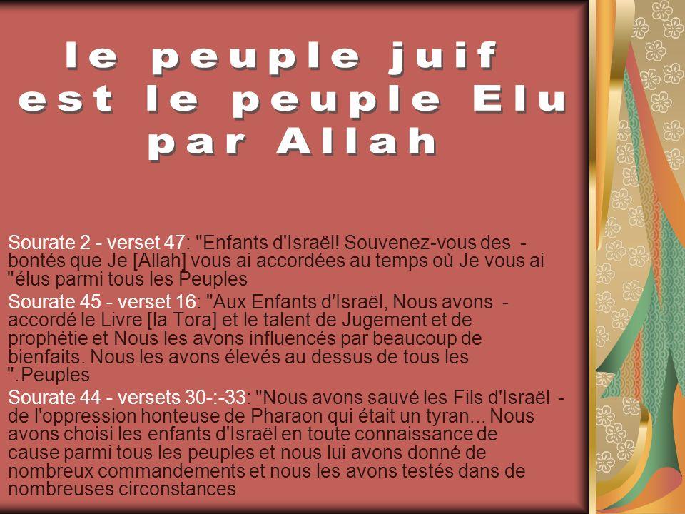 le peuple juif est le peuple Elu par Allah
