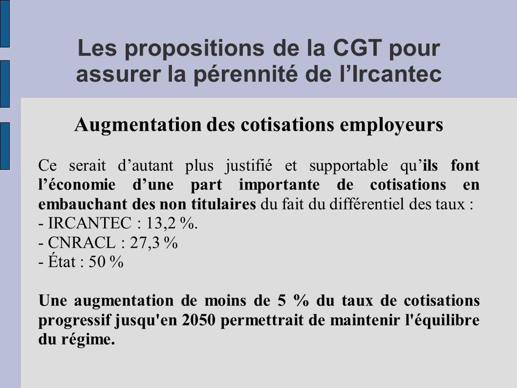Les propositions de la CGT pour assurer la pérennité de l'Ircantec