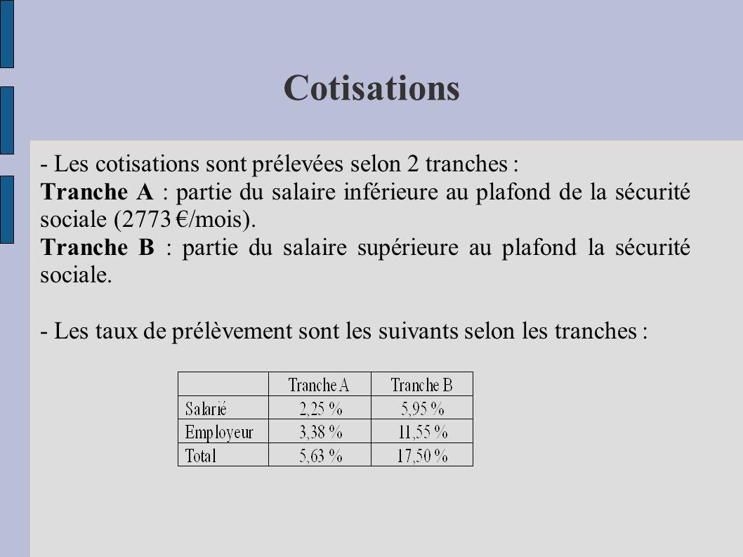 Cotisations - Les cotisations sont prélevées selon 2 tranches :