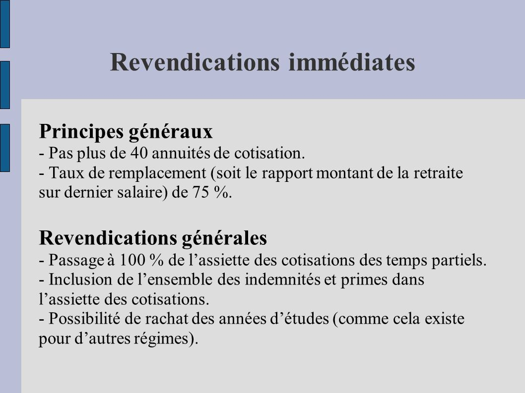 Revendications immédiates