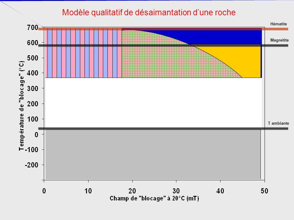 Modèle qualitatif de désaimantation d'une roche