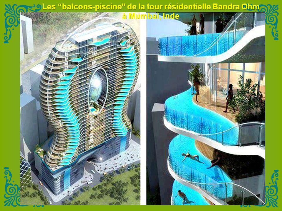 Les balcons-piscine de la tour résidentielle Bandra Ohm