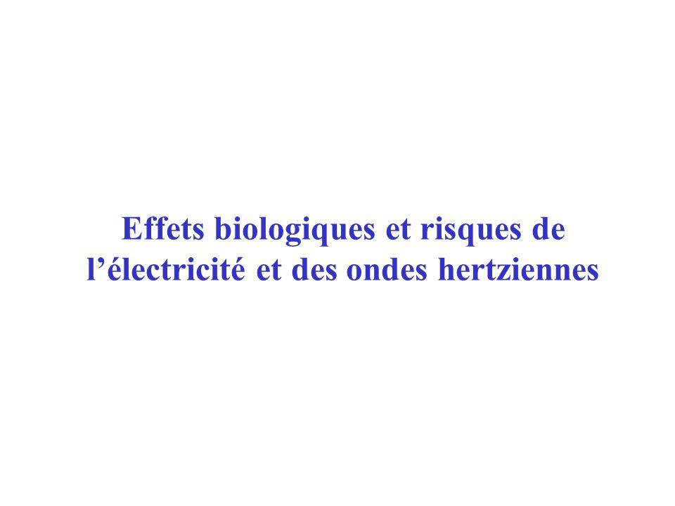 Effets biologiques et risques de l'électricité et des ondes hertziennes