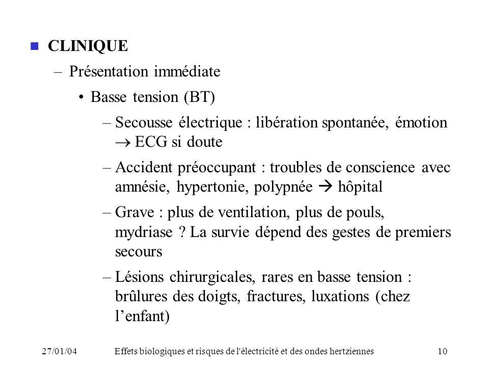 Présentation immédiate Basse tension (BT)