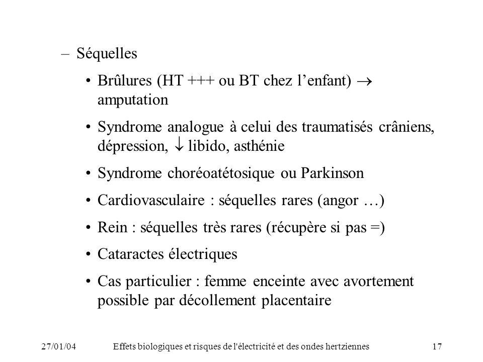 Brûlures (HT +++ ou BT chez l'enfant)  amputation
