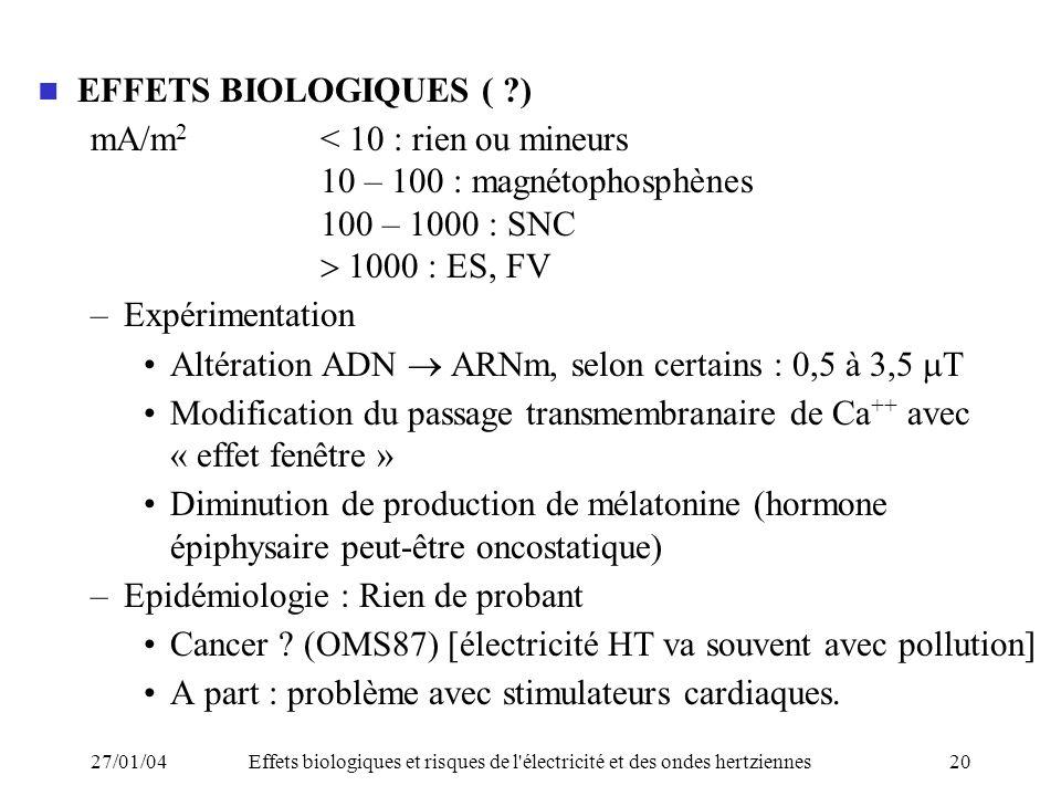 mA/m2 < 10 : rien ou mineurs 10 – 100 : magnétophosphènes