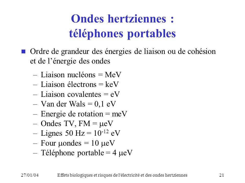Ondes hertziennes : téléphones portables