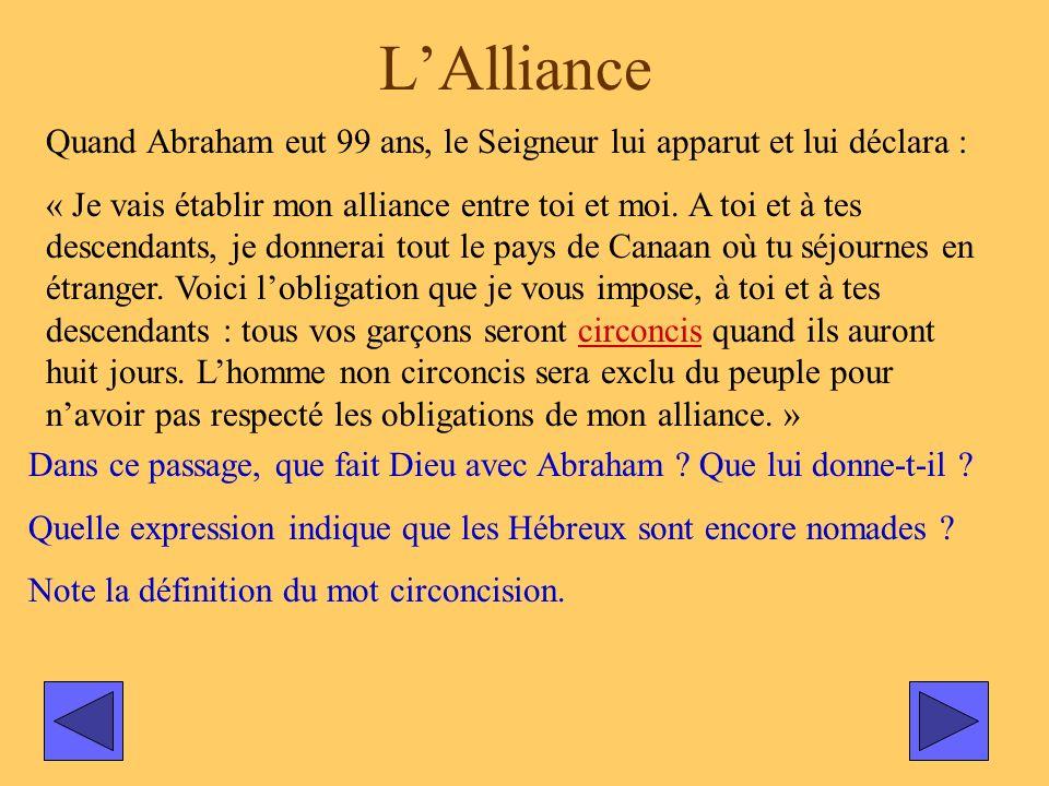 L'Alliance Quand Abraham eut 99 ans, le Seigneur lui apparut et lui déclara :