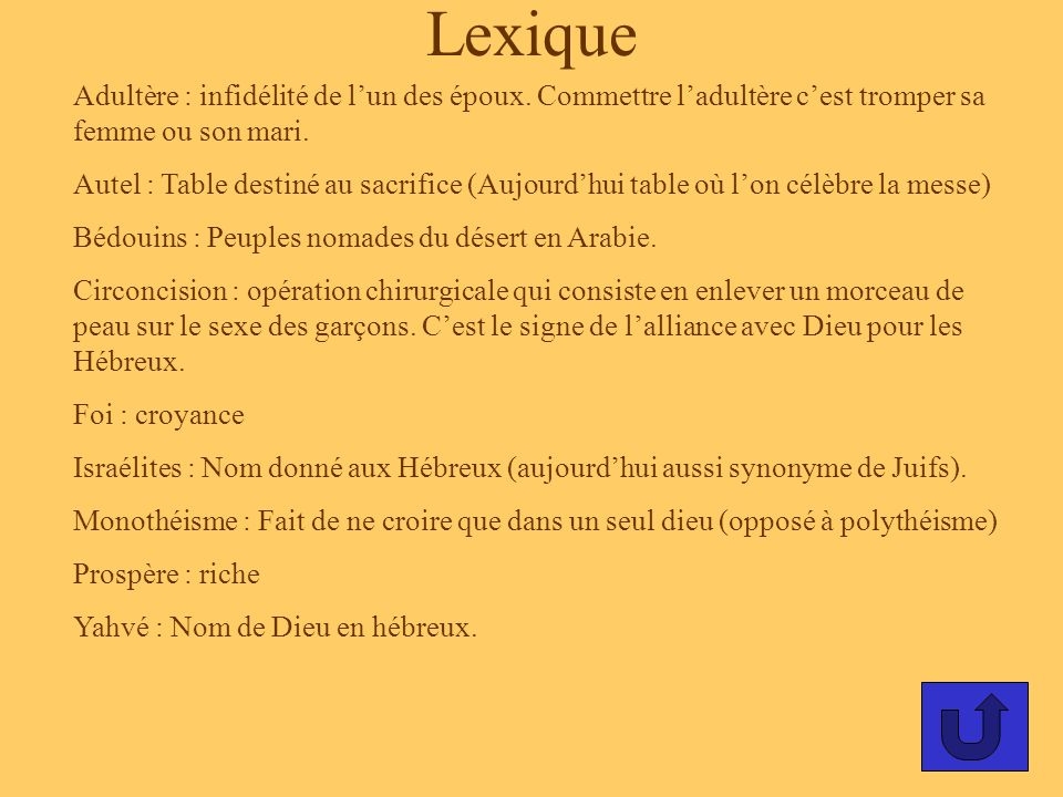 Lexique Adultère : infidélité de l'un des époux. Commettre l'adultère c'est tromper sa femme ou son mari.