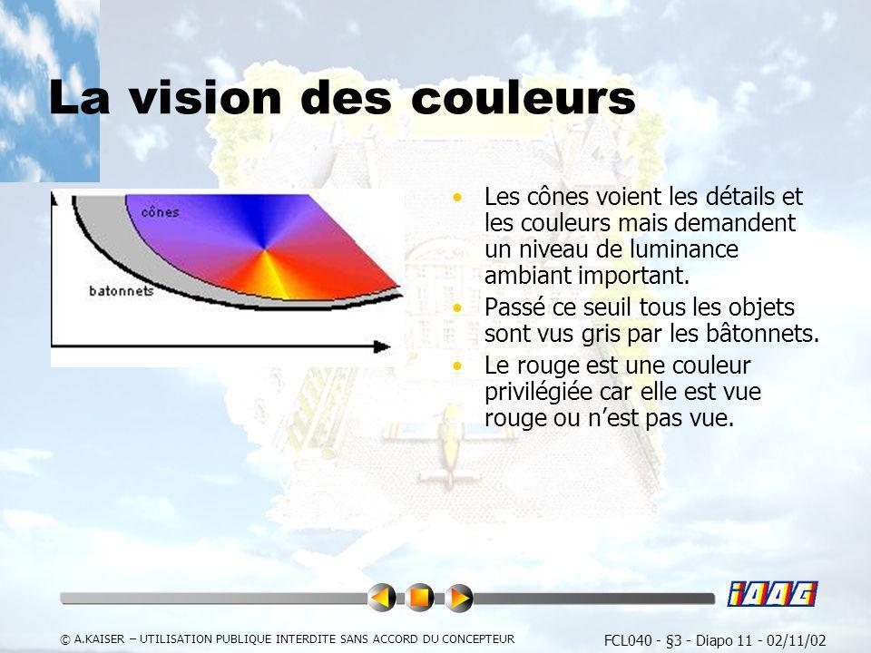 La vision des couleurs Les cônes voient les détails et les couleurs mais demandent un niveau de luminance ambiant important.
