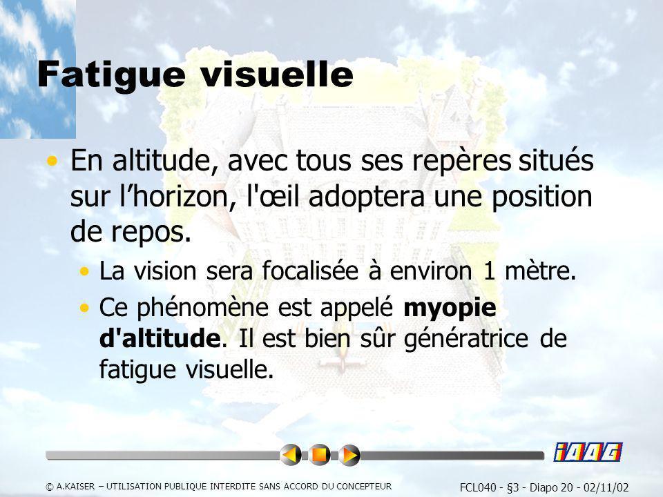 Fatigue visuelleEn altitude, avec tous ses repères situés sur l'horizon, l œil adoptera une position de repos.