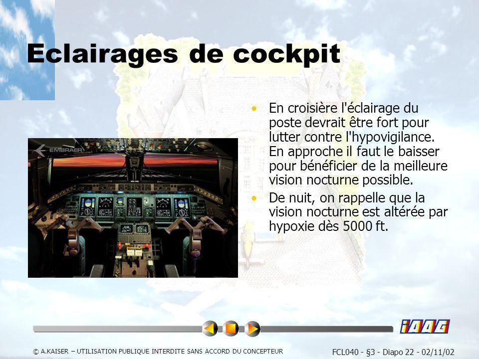 Eclairages de cockpit