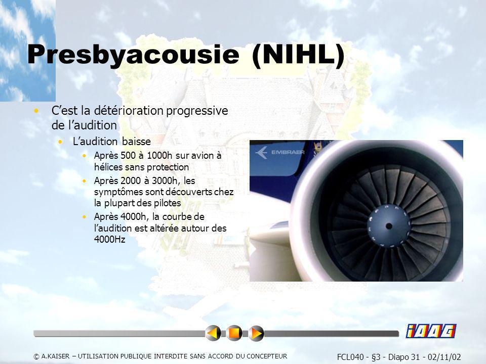 Presbyacousie (NIHL) C'est la détérioration progressive de l'audition