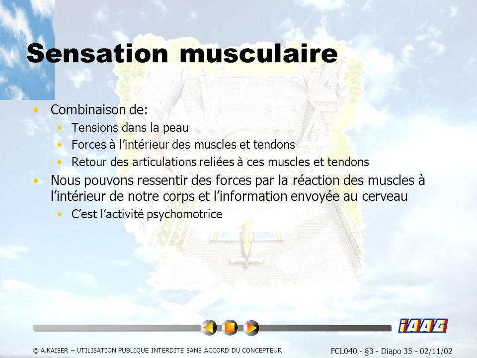 Sensation musculaire Combinaison de:
