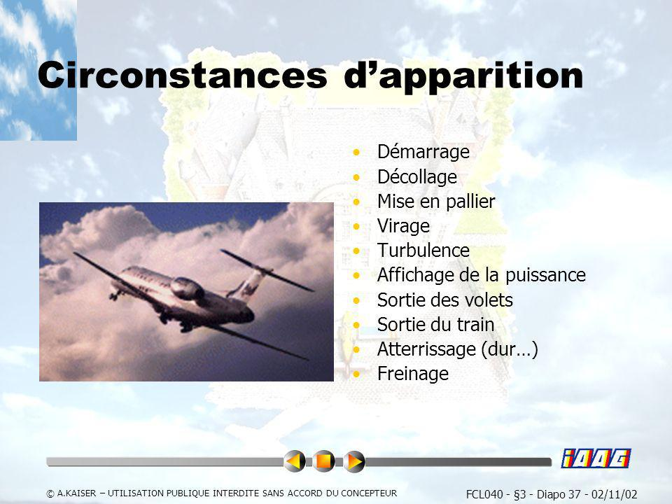 Circonstances d'apparition
