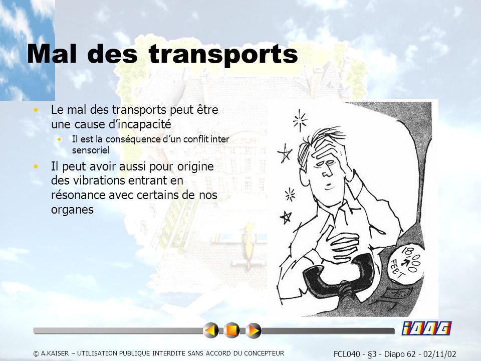 Mal des transports Le mal des transports peut être une cause d'incapacité. Il est la conséquence d'un conflit inter sensoriel.