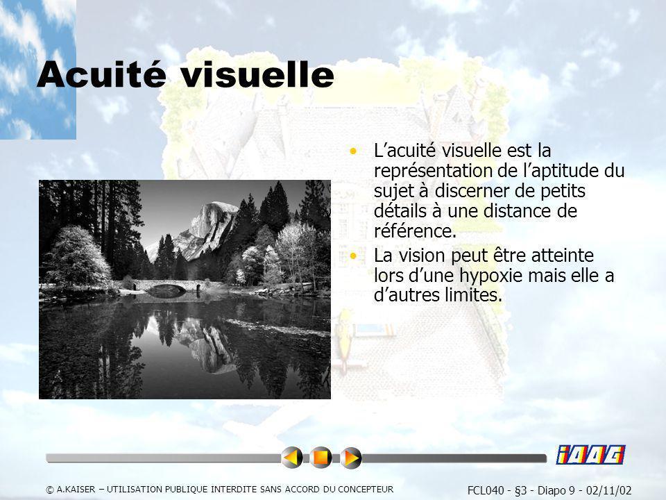 Acuité visuelleL'acuité visuelle est la représentation de l'aptitude du sujet à discerner de petits détails à une distance de référence.