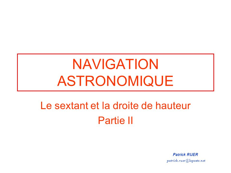 NAVIGATION ASTRONOMIQUE